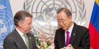 Juan Manuel Santos y Ban Ki moon entre acuerdo