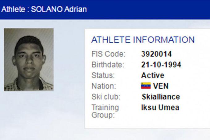 Esquiador venezolano Adrian Solano