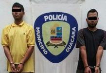 dos ladrones de autobuses en Guacara
