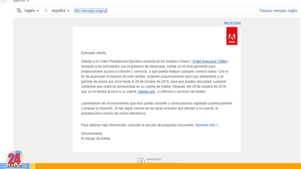 Adobe no prestará servicios en Venezuela