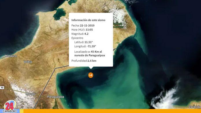 Sismo de magnitud 4.2 se registró en Paraguaipoa estado Zulia