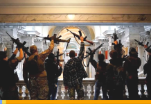 Manifestantes armados en el Capitolio de Michigan