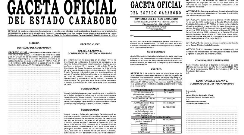 Reactivan recaudación en peajes de Carabobo