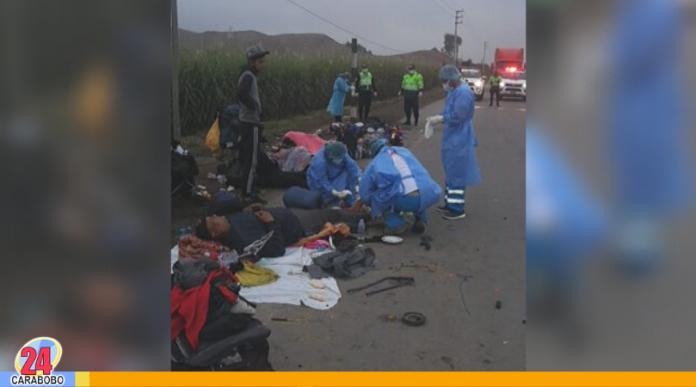 Venezolanos atropellados en Perú