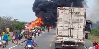 Explosión de camión cisterna en Colombia