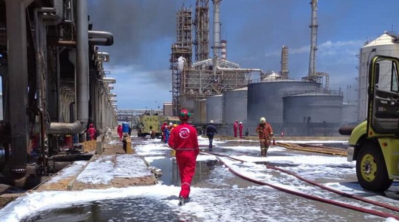 Incendio en refinería El Cardón