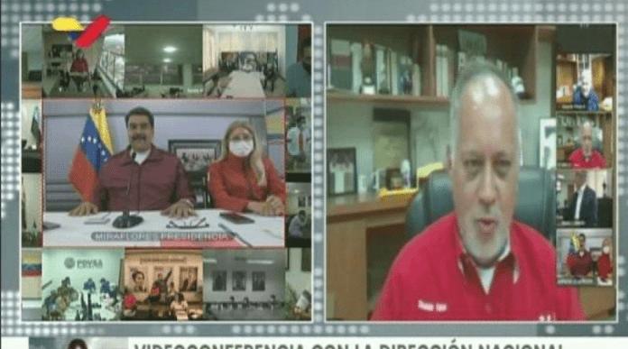 Diosdado Cabello reapareció en videoconferencia con Maduro