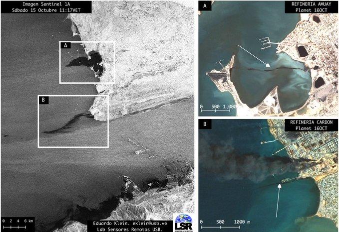 Derrames de petróleo en refinerías Amuay y Cardón