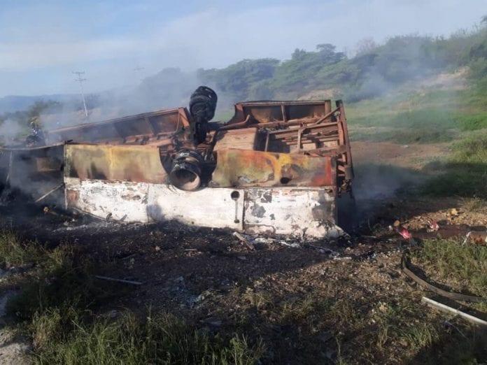 accidente de autobús en Coro