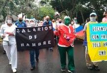 Gremios protestaron salario digno - Gremios protestaron salario digno