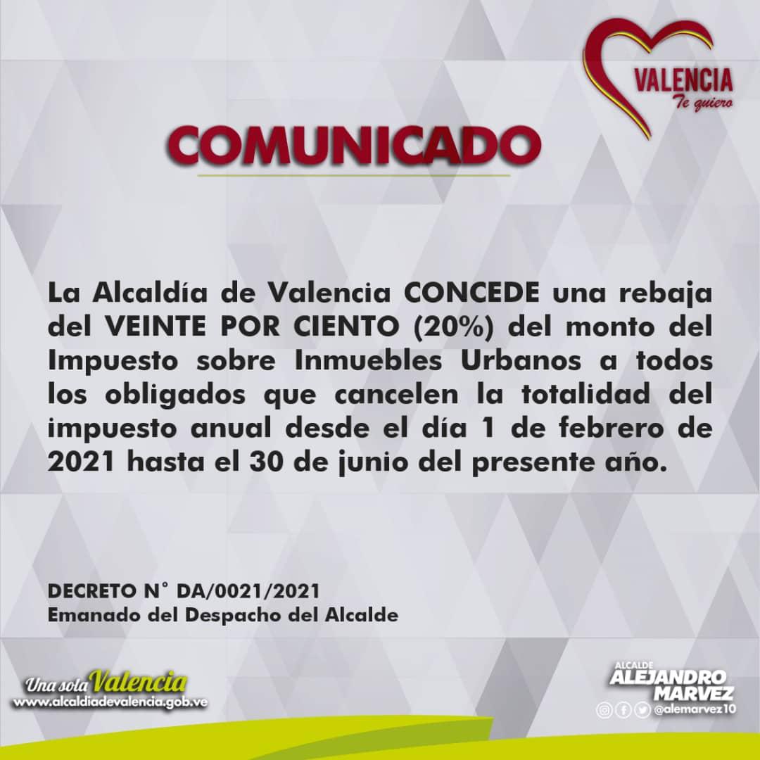 Alcaldía de Valencia comunicado