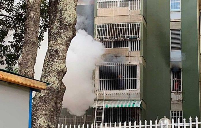 incendio en el edificio El Cafetal - incendio en el edificio El Cafetal