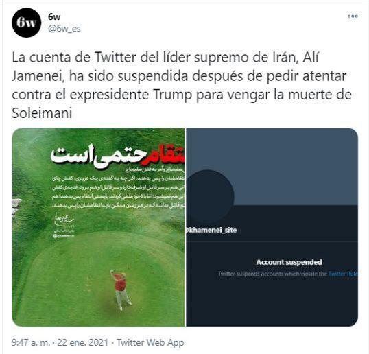 Twitter suspendió cuenta del líder supremo de Irán - Twitter suspendió cuenta del líder supremo de Irán