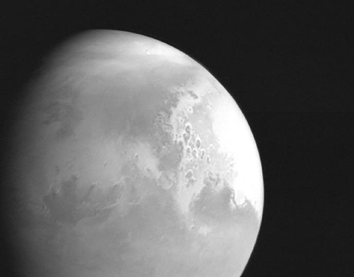 Sonda china envió la primera fotografía en blanco y negro de Marte