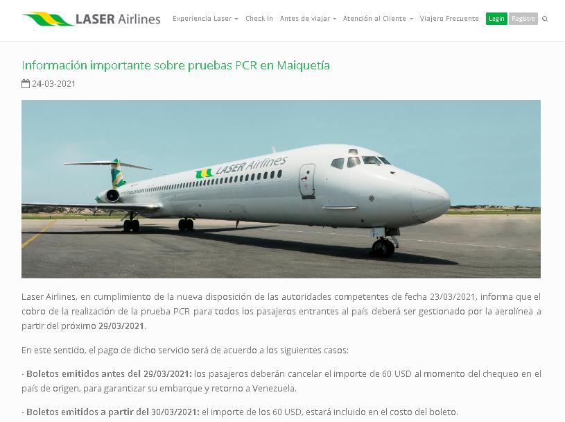 Cobro de PCR por Laser Airlines