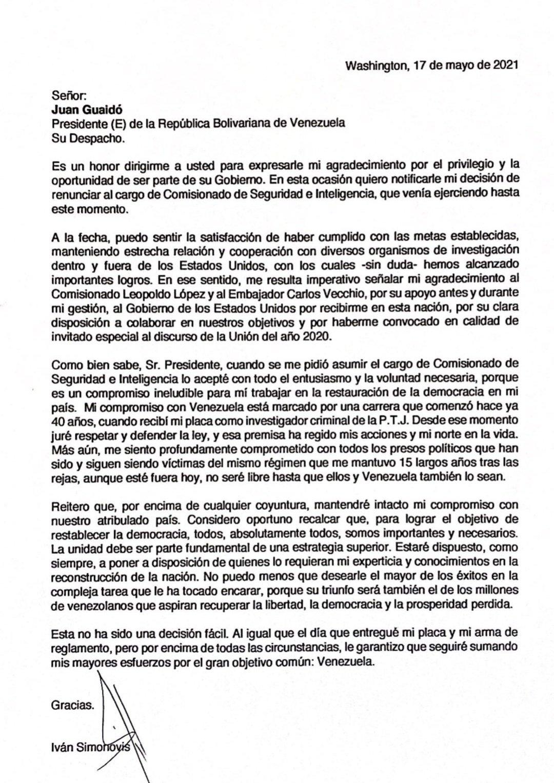 Carta de Iván Simonovis