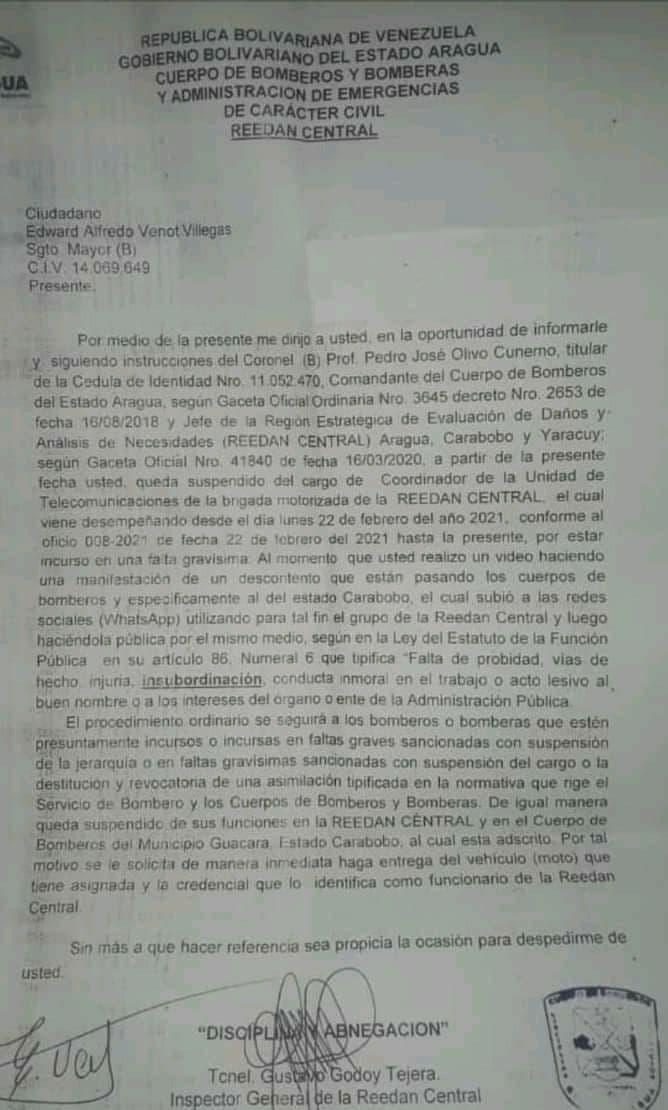 Suspenden a bombero de Carabobo tras quejarse - Suspenden a bombero de Carabobo tras quejarse