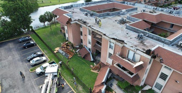 Techo de un edificio de apartamentos se derrumbó en Miami-Dade
