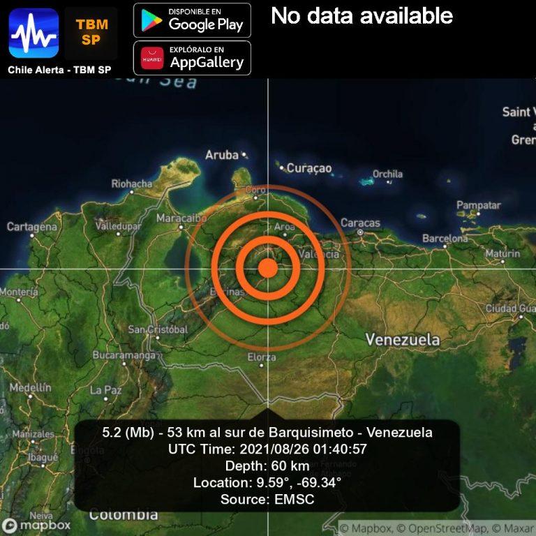 Sismo de magnitud 4.6 sacudió a varios estados de Venezuela