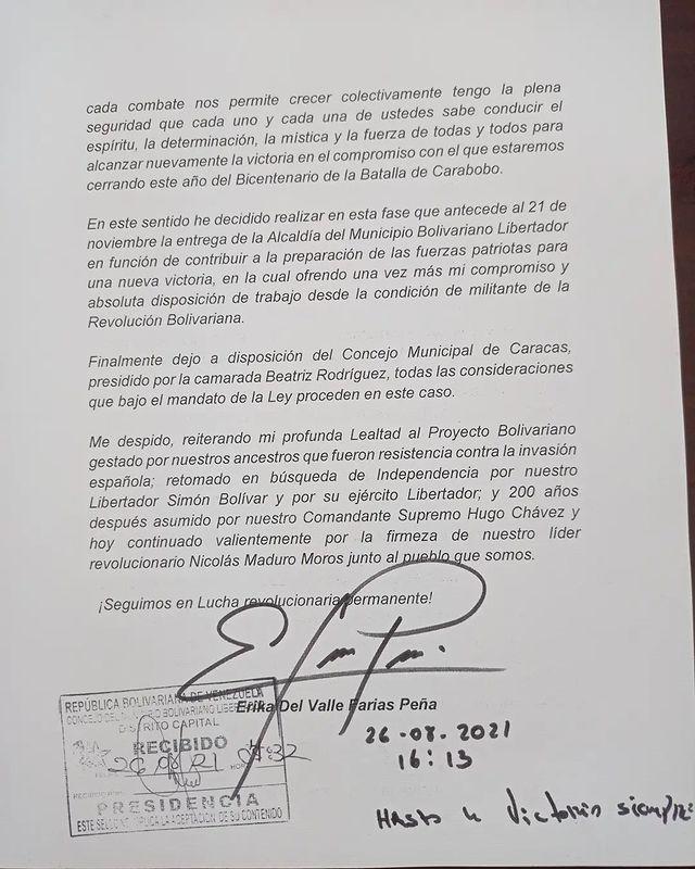 Erika Farías explica motivos de su renuncia - Erika Farías explica motivos de su renuncia
