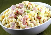 ensalada de pasta fría con jamón - ensalada de pasta fría con jamón