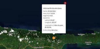 sismo al oeste de Güiria
