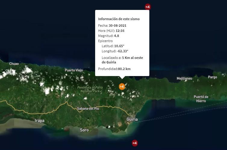 Funvisis reportó sismo de magnitud 4.8 al oeste de Güiria