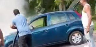 Carro se incendió en la Redoma de Guaparo - Carro se incendió en la Redoma de Guaparo