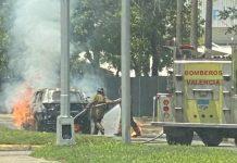Camioneta se incendió en Naguanagua - Camioneta se incendió en Naguanagua