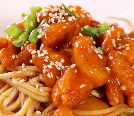- pasta con pollo agridulce